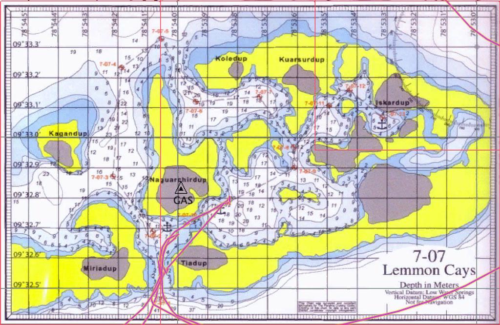 Karte der Lemmon Cays